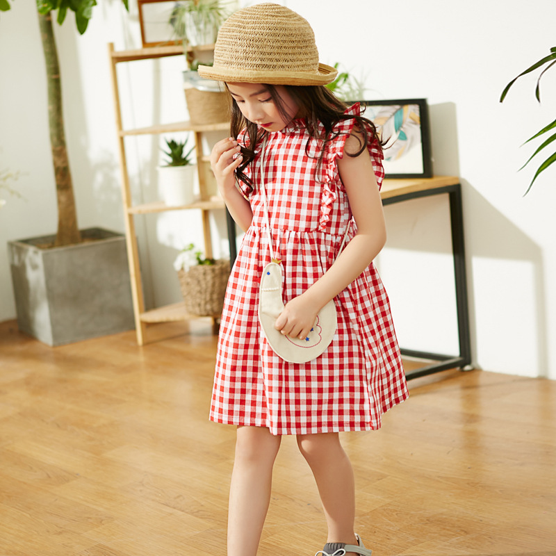 2017 Summer Little Girls Dresses Ruffle Sleeve Baby Clothes Princess Plaid Child Kid's Gingham Dress Kids Clothes hot sales rd 6442 co2 laser controller board for co2 laser cutting machine
