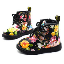 2019 Girls Boots Autumn Winter PU Leather Waterproof Kid Boots Shoes Zip Rome Flower Little Girl Martin Boots Fashion Baby Boots(China)