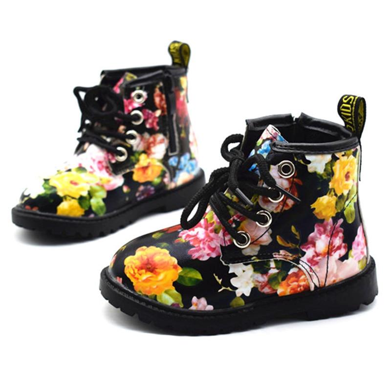 2017 Crianças Botas Meninas Botas de Outono E Inverno de Couro PU À Prova D' Água Zip Roma Crianças Martin Botas Moda Sapatos Da Menina Do Bebê