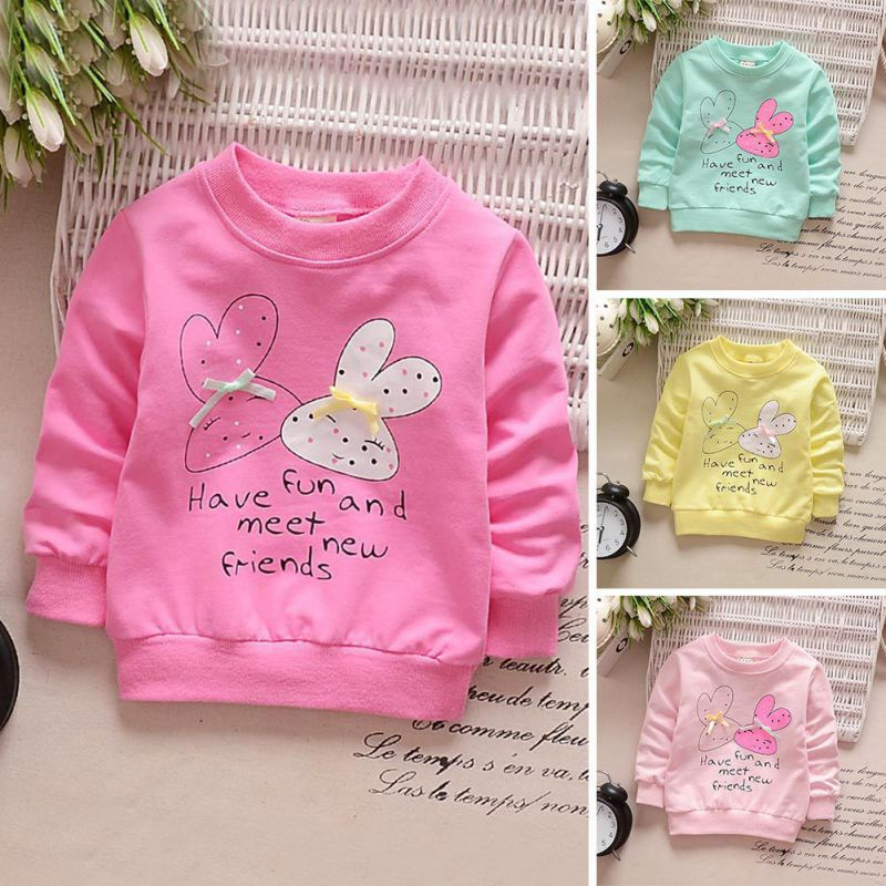Baby Toddler Kids Girls Spring Autumn T-shirts Cotton Long Sleeve Winter Bottoming Shirts Kids Cartoon Rabbit CLOTH