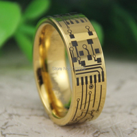 Cheap Price Free Shipping USA Canada Hot Selling 8MM New Golden Pipe CIRCUIT BOARD Lord New Men's Fashion Tungsten Wedding Ring