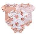 2017 Новые новорожденных девочек комбинезоны и детские трико 3 шт./лот хлопок новорожденных оптовая коротким рукавом мальчиков clothing set