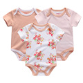 2017 meninas novas do bebê macacões & bodysuits do bebê 3 pçs/lote algodão recém-nascidos por atacado de manga curta bebê meninos clothing set