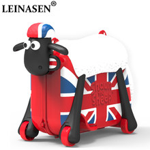 Shaun sheep baby Toy luggage children Travel locker handbag cars girl luggage Pull rod box Can sit ride Check box child suitcase(China)