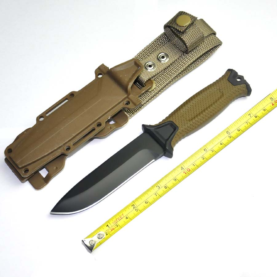 Camping Tactical Knife 59HRC Steel Blade Hunting Survival Knife,Rescue Fixed Knives With ABS Sheath Brown Color