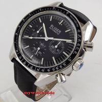 Novo 40mm bliger preto dial semana dia multifunções mecânica automática relógio masculino p214|Relógios mecânicos| |  -
