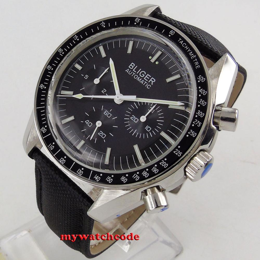 new 40mm bliger black dial week day multifunction Mechanical automatic mens watch P214
