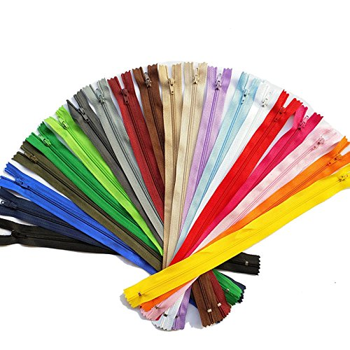 5pcs/pack Random 15/20/25/30/35/40/45/50/55/60cm  Nylon Coil Zippers Tailer Sewing Tools Craft  Total Length  (Multicolor)