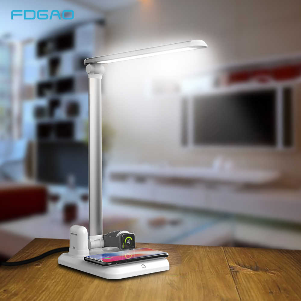 FDGAO Desk LED Lamp Light Qi Wireless Charger for iPhone X XS 8 Apple Watch Airpods Table USB Fast Charging For Samsung Xiaomi