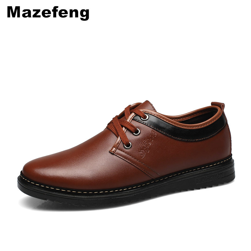 Mazefeng Spring Male Dress Shoes Fashion Men Casual Shoes PU Leather Business Lace Up Round Toe Breathable Men Shoes Solid 2203 lin king fashion pu leather men casual shoes solid lace up low top shoes spring autumn male breathable ankle office work shoes