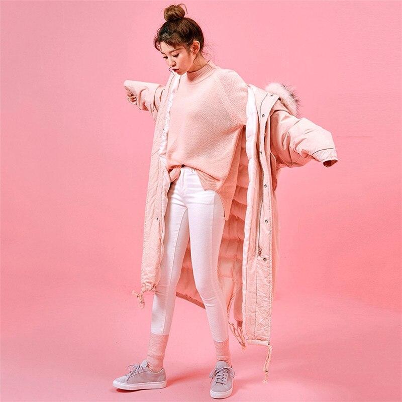 W205 Genou Fourrure Col Grand Taille Coréen Vers Capuchon sky Pink Épaissir De Sur Coton Femmes Blue Large Chaud Lâche À Bas Veste Parkas Hiver Manteau Le xvw7qBZ