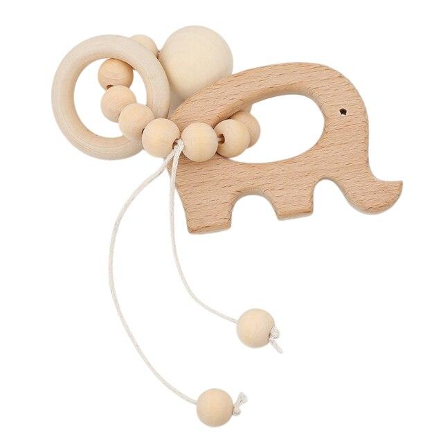 Recién llegado bebé enfermería Animal de dibujos animados mordedor de madera mordedor cuentas de dentición sonajeros juguetes mordedor Montessori