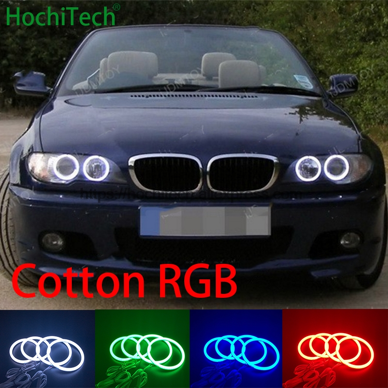 HochiTech 5050 SMD Cotton Multi-Color RGB LED Angel Eyes Kit with remote control for BMW E46 convertible facelift with xenon 4pcs for bmw e46 3 5 7 series rgb 2 131mm 2x146mm multi color rgb 5050 flash led car angel eyes headlight ring