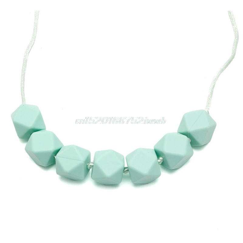 Teether Baby Silicone Chain Charm Polygon Beads Necklace Toy Teeth  #T026#