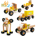 Hot assembly model truck puzzle wooden toys for children Educational toy assembly different type vehicle free shipping