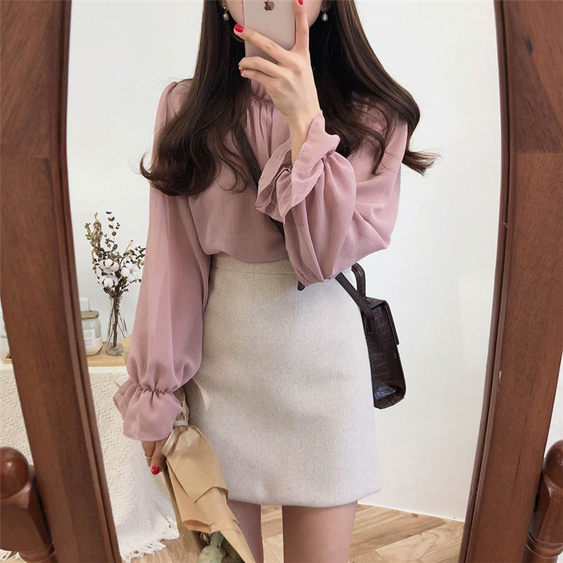 Casual Solid Chiffon Women   Shirts   Tops Summer Flare Sleeve Ruffles Collar Loose Female   Blouses     Shirts   blusas mujer de moda 2019