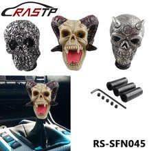 RASTP-Halloween Gift Pirate style skull  Gear Shift Knob Rider Lifelike Skull Head lever Stick Gear Knob Hot Selling LS-SFN045 personalized hat skull shape resin gear shift knob silver grey