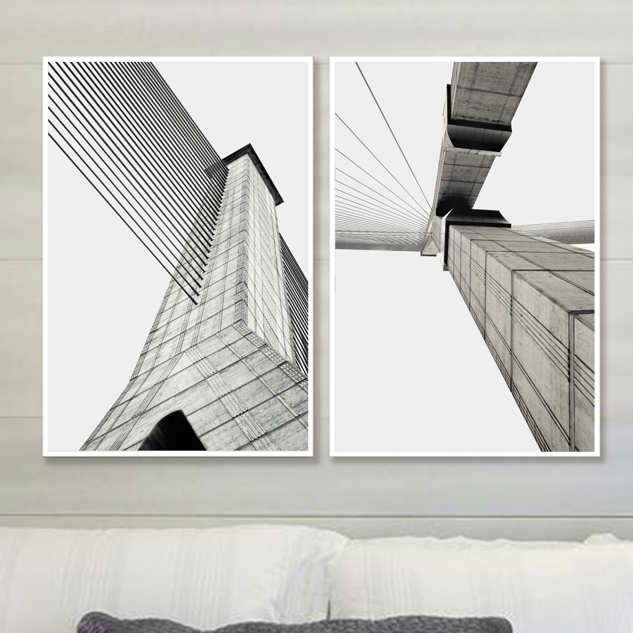 Building Wall Art Canvas Painting Nordic Posters And Prints Landscape Scandinavian Wall Pictures For Living Room Home Decor in Painting Calligraphy from Home Garden
