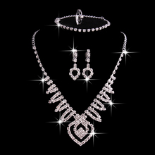 F U Plating Silver Jewelry Sets font b 2017 b font Zircon Crystal Heart shaped Necklace