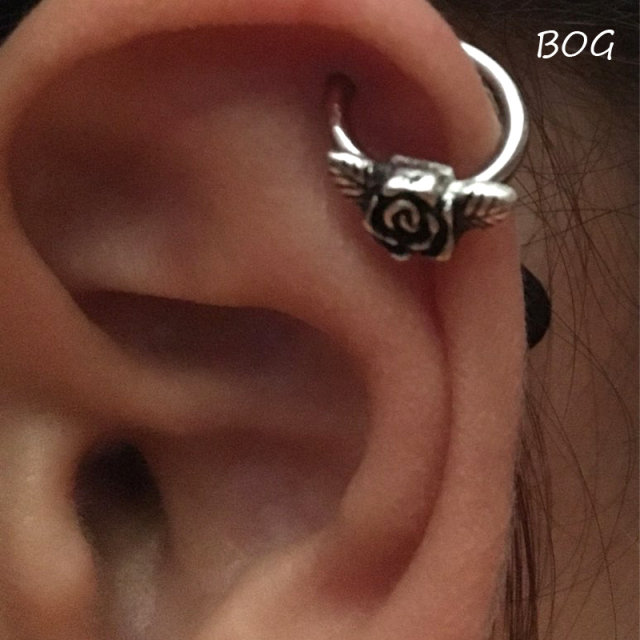 16G Steel Pretty Rose Flower Captive Bead Ring /Septum Clicker