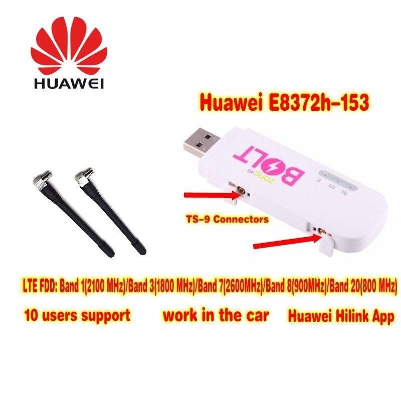 Unlocked Huawei E8372 E8372h-153 with Antenna 4G LTE 150Mbps USB Modem Mobile WiFi Dongle& 4G USB WiFi Dongle PK E8278 E8377 unlocked brand new 4g cat4 lte modem fdd usb modem huawei e3272s 153 high gain 35dbi lte 4g crc9 external 4g antenna