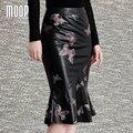 Designer de preto com borboleta de impressão genuíno couro de carneiro saia saias das mulheres saia sereia saia jupe etek faldas LT899