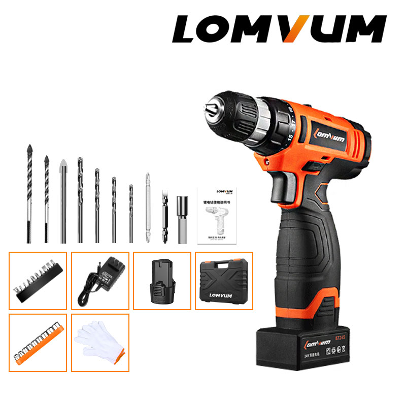 lomvum new 24v impact cordless electric drill double speed. Black Bedroom Furniture Sets. Home Design Ideas