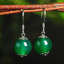 925silver inlaid natural authentic chalcedony bead earrings Original minimalist green beads with certificate