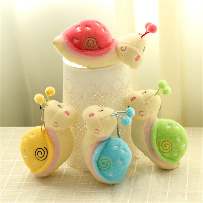New Lovely Cute Snail Animal Fluffy Plush Stuffed Pendant Toys For Children Gift Small Stuffed Pendant Funny Gift Girls 4 Colors