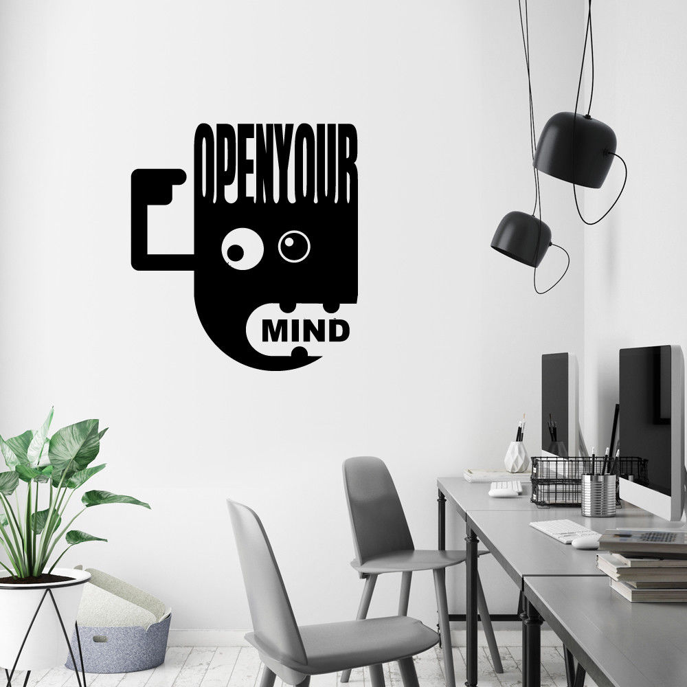 Open Your Mind Modern Quote Wall Stickers Art Office Removable Decals DIY