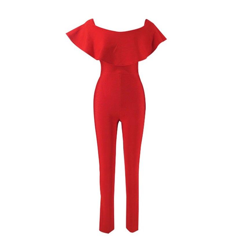 2019 New Arrival Fashion Women Bodycon Jumpsuit Slash Neck Sleeveless Ruffles Elegant Celebrity Bandage Party Jumpsuits