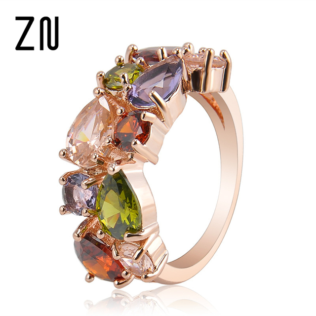 Colorful Rhinestone Ring Hypoallergenic Copper Rose Gold Engagement