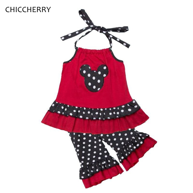 Red Minnie Applique Toddler Girl Clothes 2pcs Polkas Dots Kids Harness Pants Set Vetement Fille Menina Costume for Children
