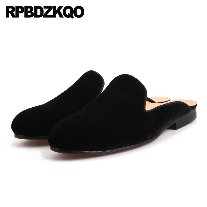 9b648d40a0c10a 11 Flats 47 Custom European Mules Brand Slides Blue Black Sandals Big Size  Elegant Fashion Luxury Velvet Casual Shoes Men Runway