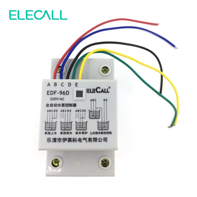 EDF96D Din Rail Mount Float Switch Auto Water Level Controller AC220V 5A Water Pump Controller 4a 8a level float switch pp water level control for water pump water tower tank normally closed