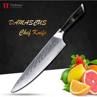 Timhome 8inch Damasucs Kitchen chef Knife sharp tool for meat Wood Handle