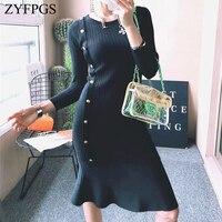 ZYFPGS 2018 Winter Hot Ladies' Dress Wool Knitting Sexy Woman's Dress Wave hem Slim Fit Metal Button Fashion Design Sales Z1112