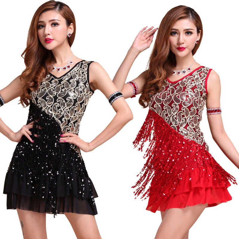 Elegant Women Night Club Party Latin Dance Dress Ballroom Salsa Sequins Fringe Skirts HotHM3