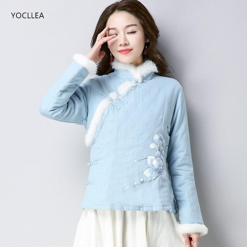 Manteau Court Coton Fille Mince Veste Qipao Vintage Hiver Couleur a5XpSpTwq