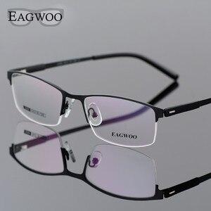 Image 2 - EAGWOO ビジネス眼鏡フレームハーフリム光学メガネ男性眼鏡ゴールドフレームメガネ近視読書春寺 2299