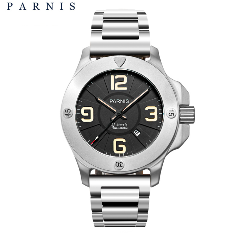 Hot Parnis 47mm Military Mechanical Watches Mens Watch Top Brand Luxury Automatic Watch Sapphire Crystal Genuine