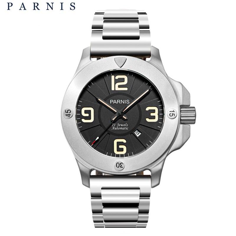 Горячие Parnis 47 мм Военная Униформа деловые часы мужские часы лучший бренд класса люкс автоматические сапфировое стекло пояса из натуральной
