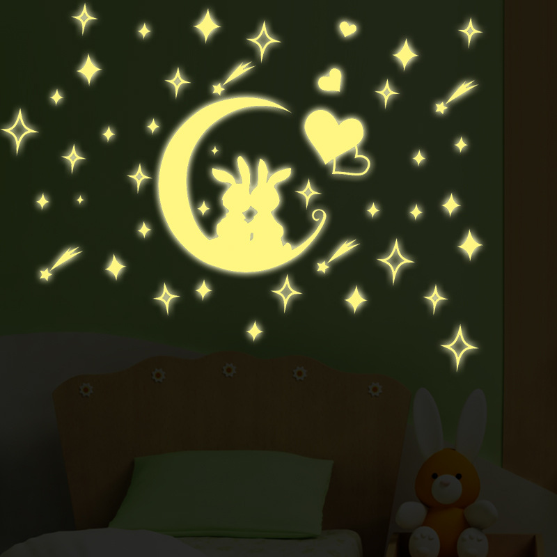 Luminous Stickers stars home Decoration Sticker cute rabbit Moon Fluorescent stars Stickers glow in the dark for kids baby room