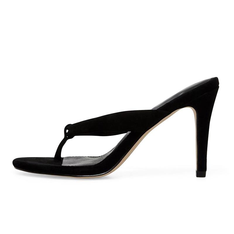 Модные женские сандалии на высоком каблуке; Цвет Черный; вьетнамки на каблуке; цвет бежевый; женские летние туфли на шпильке; большие размеры; 2019 - 5