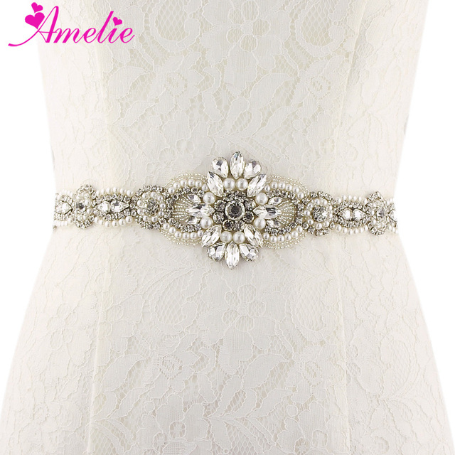 Hot Skinny Bridal Belt Grandeur Rhinestone Pearl Wedding Dress Formal Sash