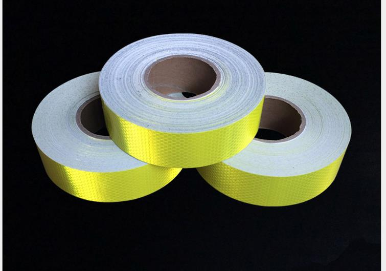 5cm*5M Self-adhesive Reflective Tape High Visibility Fluorescent Yellow Reflective Warning Tape For Van Car Traffic Sign