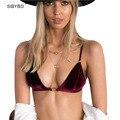 Mujeres Push Up Bralette Bralet Crop Top Sexy Para El Verano de Espagueti Ajustable Correa Backless de Playa de Terciopelo Tanque Recortada Top