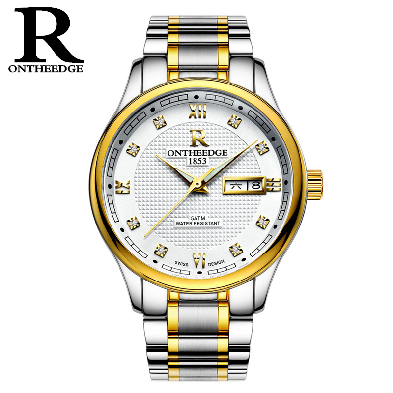 RONTHEEDGE Fashion Automatic Mechanical Watches Men Stainless Steel Wristwatches Auto Date Casual Man Watch with box RZY015 mce top brand mens watches automatic men watch luxury stainless steel wristwatches male clock montre with box 335