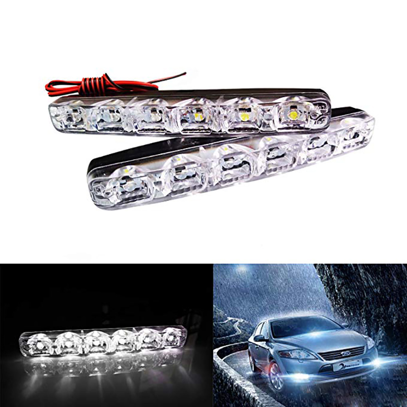 2 x Bright 6LED Super White Car Driving Light Fog 12V DRL Daytime Running Lig qD
