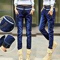 Осенние и зимние джинсы новые плюс бархат джинсы женщина жира высокая талия упругие джинсовые брюки женщин Хлопка стрейч Тонкий джинсы 4XL